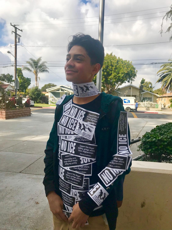 Jason Romero, a freshman in Alpha wears a full torso of